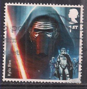 GB 2015 QE2 1st Star Wars ( 1st Issue)' Kylo Ren 'used SG 3769 ( G480 ) Thin