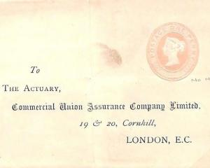 K177 GB PENNY PINK 1887 STO LETTER-SHEET *Commercial Union Assurance* UNUSED