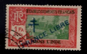 FRENCH INDIA  Scott 168 Used France Libre  overprint