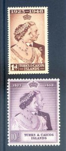 Turks & Caicos 1948 Silver Wedding SG208/9 Mounted Mint