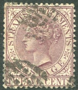STRAITS SETTLEMENTS-1883-91 12c Brown-Purple Sg 67 GOOD USED V42841