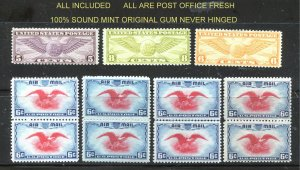 Quality Mint AIR selection  11 stamps total C16, C17, C19, +C23(8)