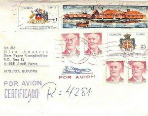 CHILE Air Mail Cover *Puerto Varas* MIVA MISSIONARY Austria 1991 {samwells}CA396