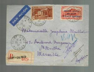 1937 Saint Denis Reunion Cover to France Roland garros First Flight # C1 FFC