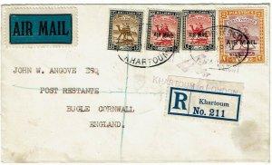 Sudan 1931 Khartoum cancel on first flight cover to England