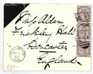 CEYLON Nawalapitiya *PAID* GB Doncaster Cover {samwells-covers} 1891 CW47
