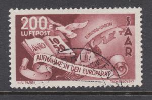 Saar Sc C12 used. 1950 200f 200fr red brown Council of Europe, VF