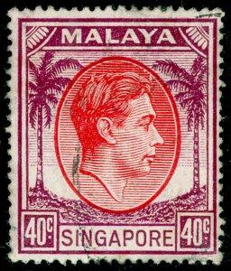 SINGAPORE SG26, 40c red & purple, FINE USED. Cat £22.