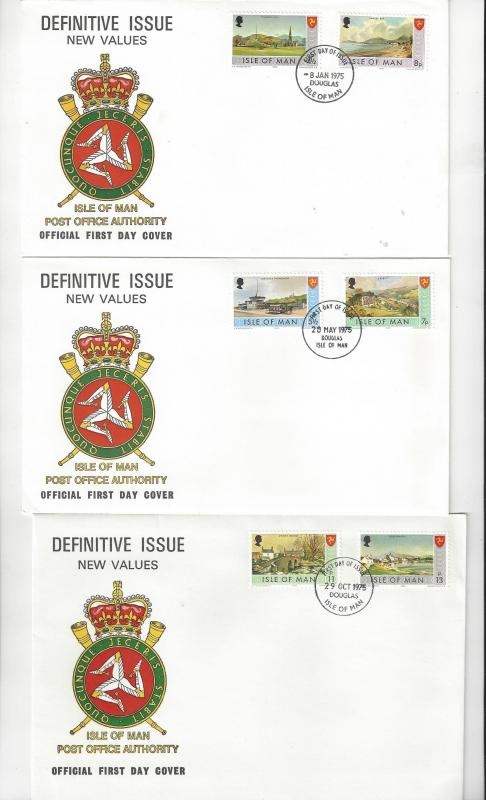 Isle of Man FDC 52/59  Definitive Issue Three Official Covers