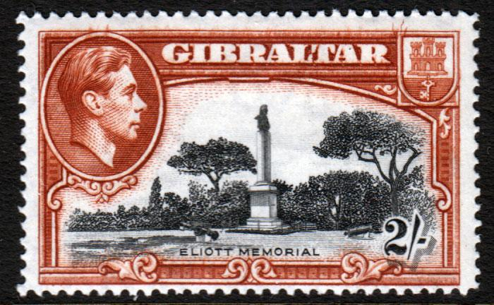 Gibraltar KGVI 1938 2/- 2s Black Brown SG128 Mint Lightly Hinged