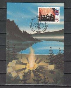 Slovenia, Scott cat. 236. Boy Scouts issue. Maximum Card. ^