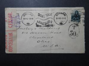 South Africa 1942 Censor Cover / Patriotic Cancel / Light Fold / 30c Due -Z10824