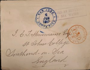 O) 1897 COSTA RICA, SUBMARINE MAIL, DAMAGE BY IMMERSION IN SEA WATER, FROM SAN