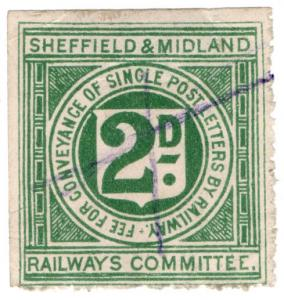 (I.B) Sheffield & Midland Railways Committee : Letter Stamp 2d