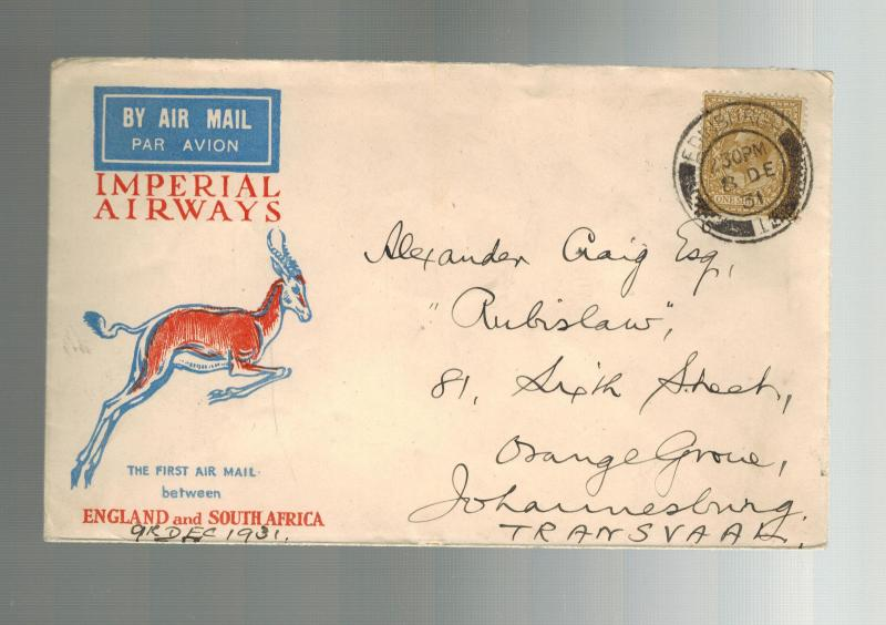 1931 England First Flight Cover FFC Orange Gro South Africa via Imperial Airways