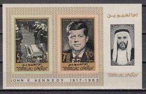 Umm Al Qiwain, Mi cat. 38-39, BL2 B. President John Kennedy, IMPERF s/sheet.