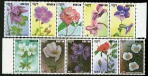 Bhutan 1993 Flowers Plant Flora Strip of 10 Sc 1095 MNH # 6271