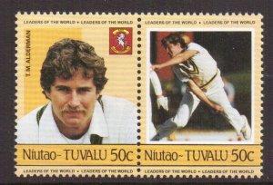 Tuvalu  Niutao  #23   MNH   1985  cricket players  50c  pair  Alderman