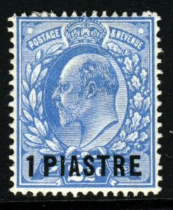 BRITISH LEVANT KE VII 1912 1 Piastre Surcharge on 2½d. Bright Blue SG 27 MINT