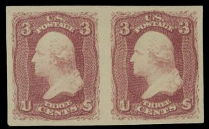 US SCOTT #66TC6a Horizontal Pair Imperf Proof On Stamp Paper VF-XF (DFP 7/7/20)