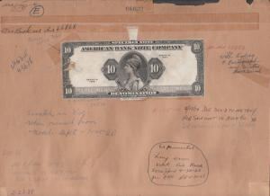 US ABNCo SPECIMEN SAMPLE NOTE PROOF ON ARCHIVAL FILE CARD $10 DIE PROOF WLM1321A