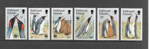 PENGUINS - FALKLAND ISLANDS #535-40  WWF  MNH