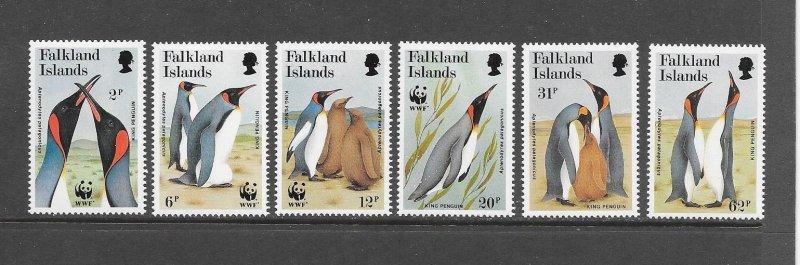 PENGUINS - FALKLAND ISLANDS #535-40  WWF  MNH