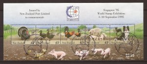 1995 New Zealand - Sc 1302b - used VF - Mini Sheet - Farm Animals