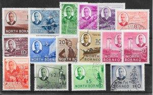 NORTH BORNEO SG356/70 1950-2 DEFINITIVE SET USED