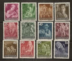 Liechtenstein 1951 Agriculture Set SG287-298 Mint Cat£275