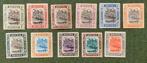 Brunei 1907-10 set of 11.  Unused, toned. Scott 13/36, CV $259.75. SG 23-33