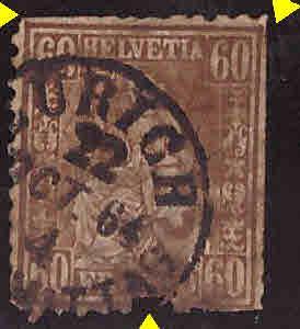 Switzerland Scott  48 Used 1864 Zurich cancel on this 60c Bronze Helvetia