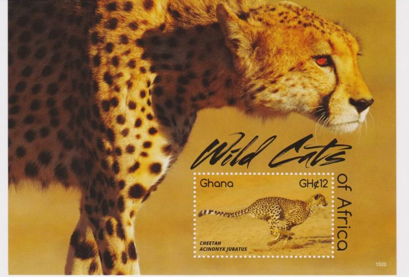 Ghana - Wild Cats of Africa, 2015 - 1520 S/S MNH