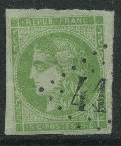France 1870 15 centimes Ceres yellow green, greenish imperf used