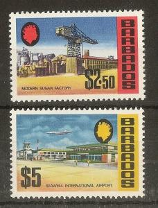 Barbados 1972 $2.50 & $5 SG466-467 MNH