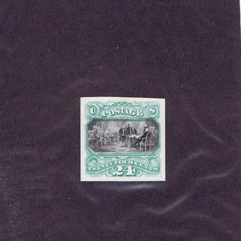 SCOTTS# 120P4 UNUSED CARD PROOF 24c , 1869 PICTORIAL, DECLARATION INDEPENDENCE.