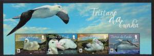 Tristan da Cunha WWF Albatross Bird Top strip of 4v SG#1063-1066