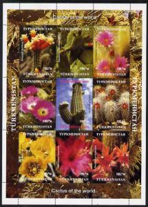 Turkmenistan 1999 Cacti perf sheetlet containing 9 values...