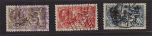 GB 1918 KGV sea horse SG 415a,451,417 FU