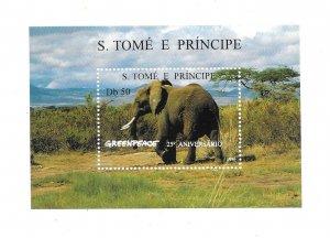St. Thomas and Prince Islands 1996 Greenpeace Elephant Sc 1241 S/S MNH B2