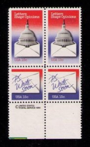 US Sc 1809 -1810 Letter Writing VF MNH Attached Pair (x2) Block Of Four
