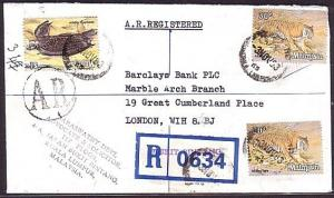 MALAYSIA 1983 Registered AR cover Bukit Bintang to London - Tigers.........34532