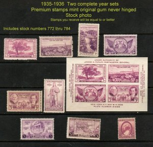 Scott # 772 - 784,  1935-1936 Commemorative Year Sets of 9 + SS  Mint NH
