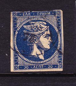 GREECE  1875-80  20L BLUE  HERMES IMPERF  FU  SG 49