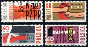 POLAND / POLEN - 1964 Mi.1499/1502 Set of 4 Workers' Party Congress - VF Used