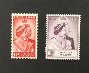 {BJ Stamps} PITCAIRN ISLANDS, #11-12, 1948 SILVER WEDDING, MNH. CV $49.25.