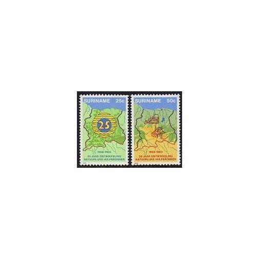 Surinam 641-642,MNH.Michel 1038-1039. Department of Construction,25th Ann.Map.
