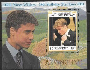 ST.VINCENT SGMS4554 2000 18th BIRTHDAY OF PRINCE WILLIAM  MNH