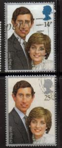 Great Britain Sc 950-1 1981 Royal Wedding Charles stamp set mint NH