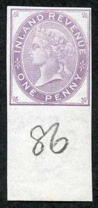 1d Lilac Postal Fiscal SGF20-22 Imprimatur Plate 86